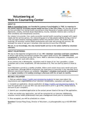 Volunteer Application - Team Consultant 2017 - Walk-In